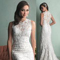 Vestidos De noiva 2015 Wedding dress With New High Neck Sereia Pearl Beads Lace Mermaid Bridal  Dresses Court Train