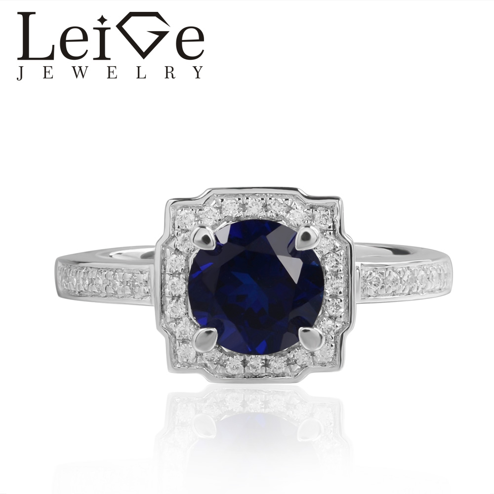Leige Jewelry Lab Sapphire Rings Blue Gemstone Round Cut Halo For Woman 925 Sterling Silver September Birthstone RingLeige Jewelry Lab Sapphire Rings Blue Gemstone Round Cut Halo For Woman 925 Sterling Silver September Birthstone Ring