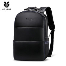 LIELANG Leather Backpack Mens Fashion Youth Travel Bag Men bag school Genuine Suede Computer backpack