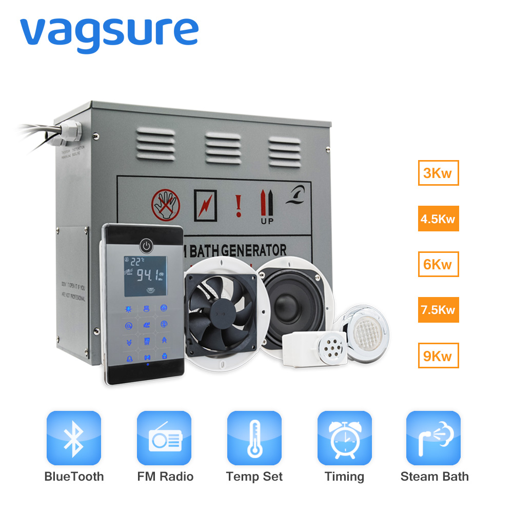 AC 220V Water Proof IPX5 Computer Controlled Panel Steam Sauna Bath Engine For Bathroom Shower FM
