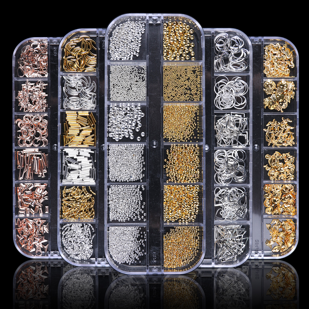 Manicure-Accessories Studs Nail-Rivets Charm Strass Metal Frame Silver Gold 1case Shiny