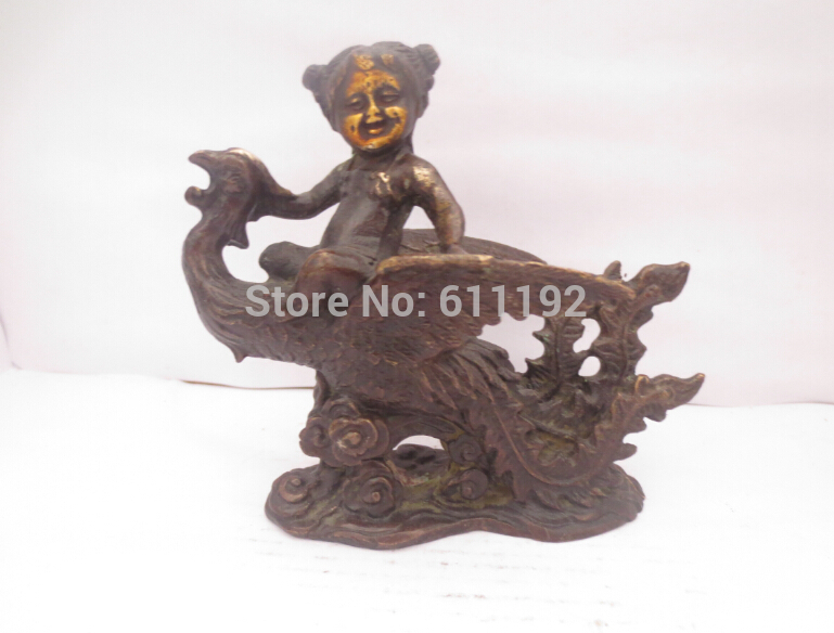 Antique Hand-carved Bronze Animal Gilt Statue,Home Decoration Dragon Sculpture Metal Crafts
