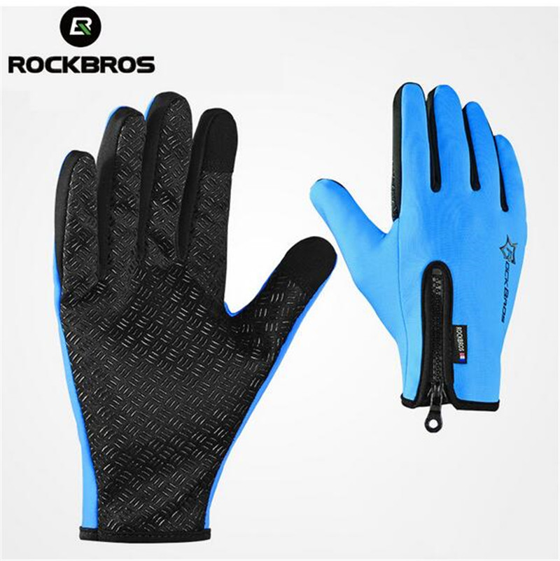 ROCKBROS Men Women Winter Cycling font b Gloves b font Male Full Finger Riding Bicycle font