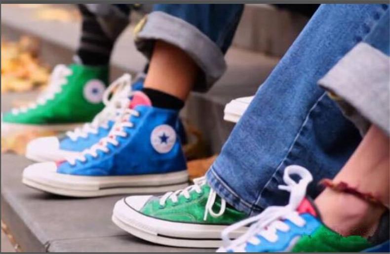 цена Original Converse x JW Anderson All Star Men's women 2018 classic sneakers bling bling Skateboarding Shoes szie:36-44 онлайн в 2017 году