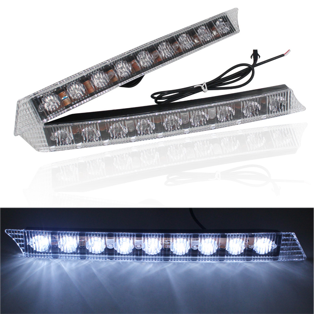 New 2x 9 LED Daytime Running Driving Light DRL Fog Lights For Audi A6 2005-2008 Waterproof Car Styling 12V 2.7W Free Shipping 2x led car daytime running light drl driving fog lamp light for benz glk300 500 2008 2012 free shipping