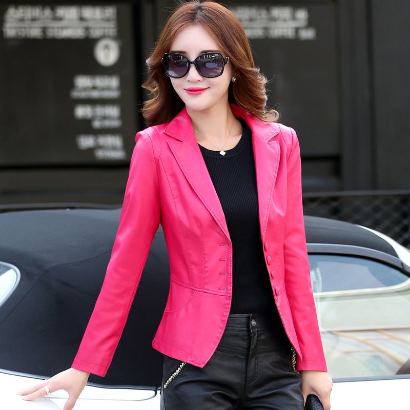 2018 New Spring Autumn Women   Leather   Blazers and Jackets Plus Size Solid   Leather   Coat Outwear Female Jacket Women's Costumes