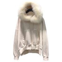 Oodji2008 Outono Inverno Novas Mulheres Hoodies Camisolas Grande Gola De Pele Removível Grossa Solta Plus Size Pullovers Senhoras LJ143