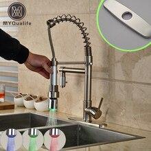 2016 Новый горячей и холодной кухонный кран со светодиодной подсветкой Палуба Гора одна ручка вращения 2 носик кухни смесители