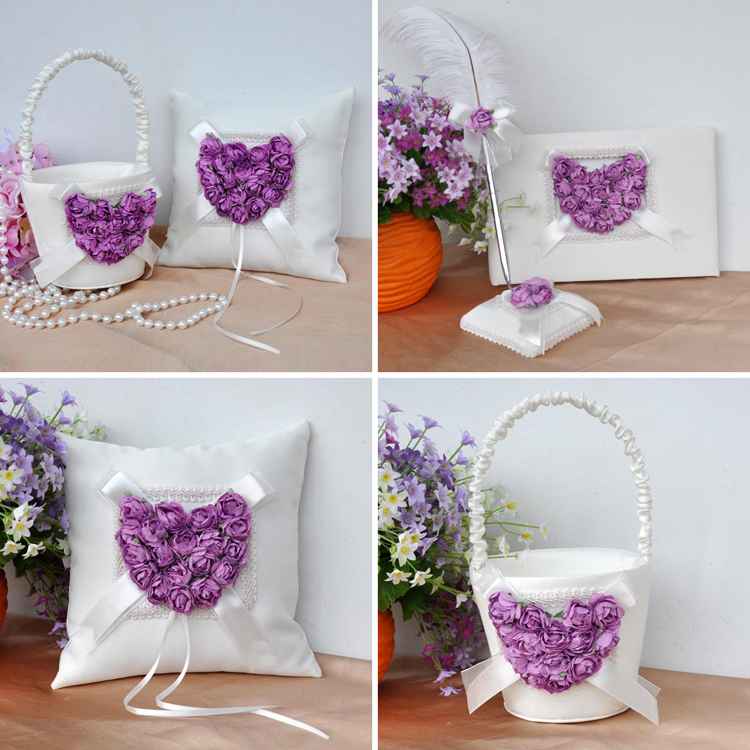 Great Wedding Guest Book And Pen Set With Feather Wedding Ring Pillow And Flower  Basket Wedding Decoration