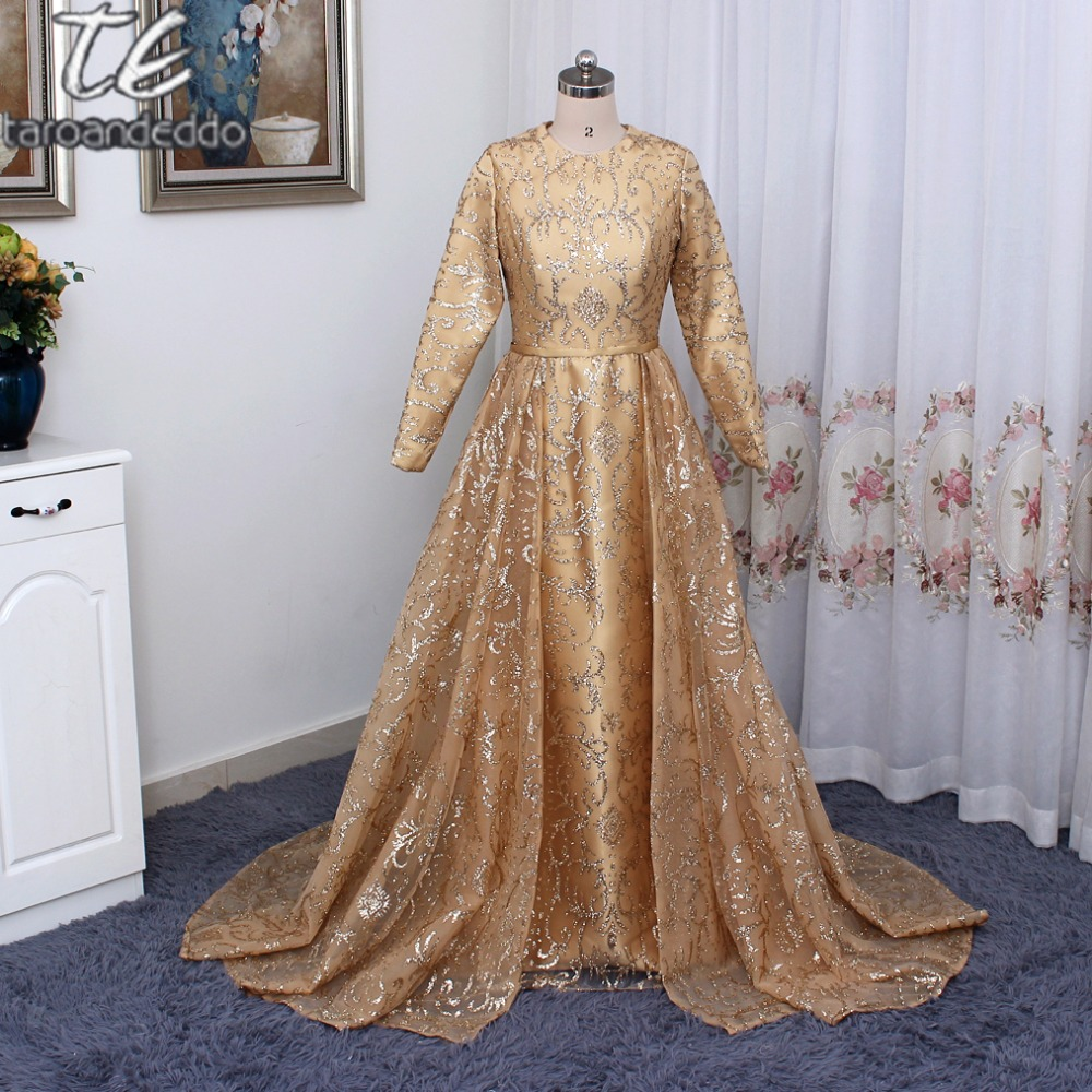 New Stunning Long Sleeve Gold Two Pieces Glitter Sequin Prom Dresses ...