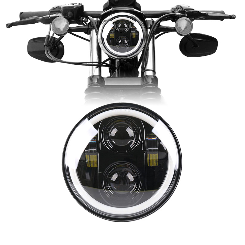 5,75 дюймов светодиодный фара Halo Кольцо Белый DRL Ангел глаз для Harley 883 железо, 883 sportster, softail, touring road king
