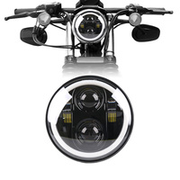 5.75 Inch LED Headlight Headlamp Halo Ring White DRL Angel eye for Harley 883 iron, 883 sportster, softail, touring road king