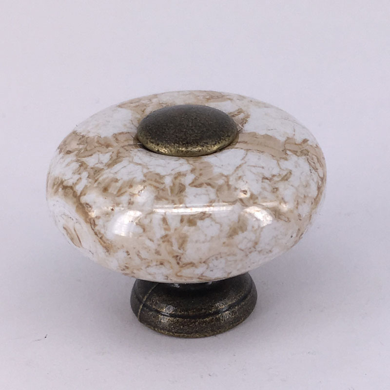 DIA 32mm Round Marble Crack Ceramic Cabinet Knob Cupboard Drawer Pull  Handle/Great For Kitchen Bathroom Cabinets Shutters