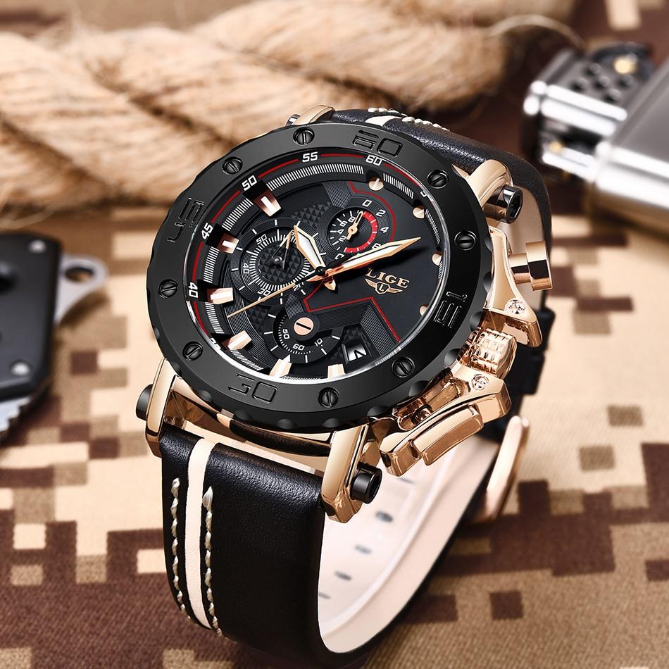 HTB1owRGafjsK1Rjy1Xaq6zispXaQ 2020LIGE New Fashion Mens Watches Brand Luxury Big Dial Military Quartz Watch Leather Waterproof Sport Chronograph Watch Men