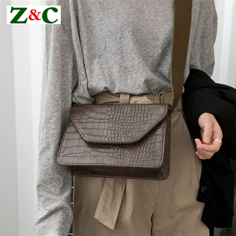 Vintage Women Messenger Bags Leather Ladies Small Clutch Flap Shoulder Crossbody Bags Crocodile Pattern Bag with Wide Straps Sac