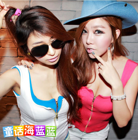 The new 2014 summer Korean sexy fashion tight low-cut large square collar  zipper nightclub U -neck T-shirt sleeveless T- shirt w 0344d714a