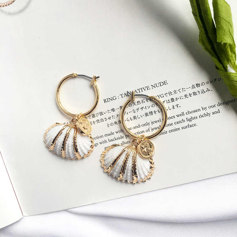 Sea Shell Earrings For Women Conch Gold Color Cowrie Statement Coins Earrings 2019 Queen Summer Beach Jewelry
