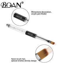 Bqan 1pc prego ombre escova da arte do prego pintura caneta escova uv gel polonês gradiente cor strass cristal acrílico prego desenho caneta