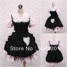 V-1178 Rosa kurzhülse baumwolle Süße Schule Lolita Kleid/viktorianischen kleid Cocktailkleid/halloween-kostüm US6-26