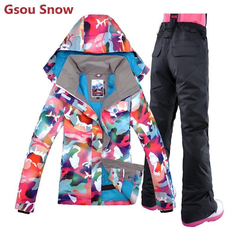 Prix pour 2016 Gsou Snow marque ski veste femmes vêtements de ski snowboard veste et pantalon montagne ski costume en liquidation livraison gratuite