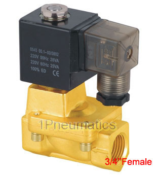 Free Shipping Normally Closed 3/4'' 2/2 way Pilot Diaphragm Brass Electric Valve Water Air Solenoid Valve PU225 06 AC220V