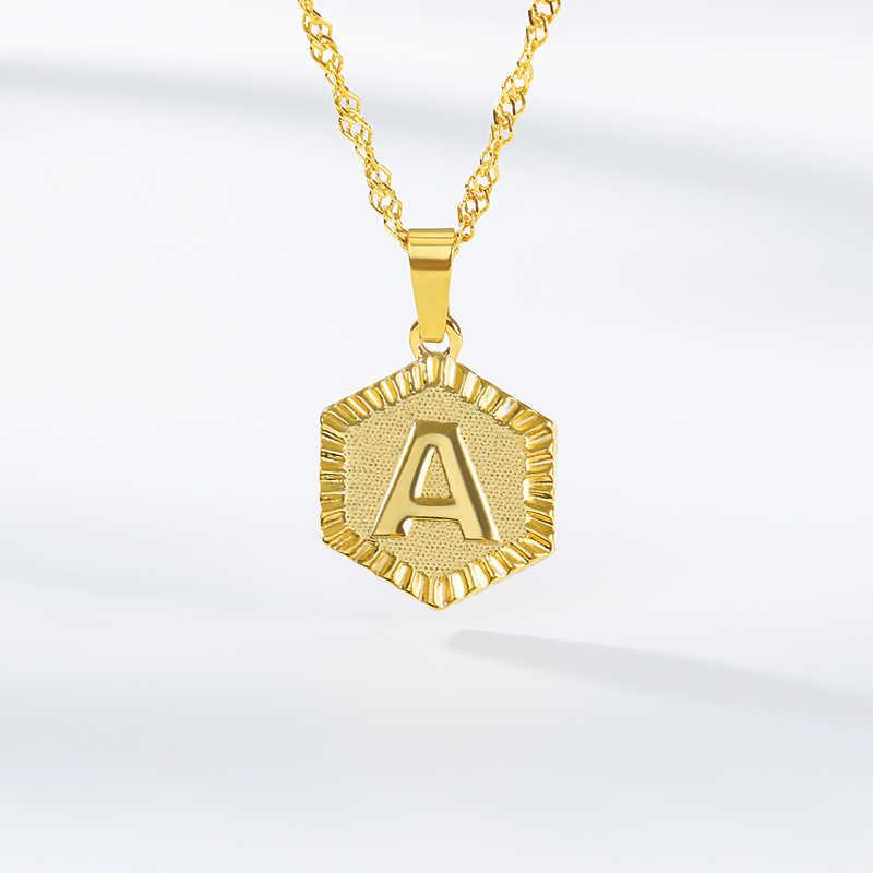 A-Z Hexagon จี้สร้อยคอผู้หญิงเครื่องประดับส่วนบุคคลสแตนเลสตัวอักษรมิตรภาพสร้อยคอ Collier Femme