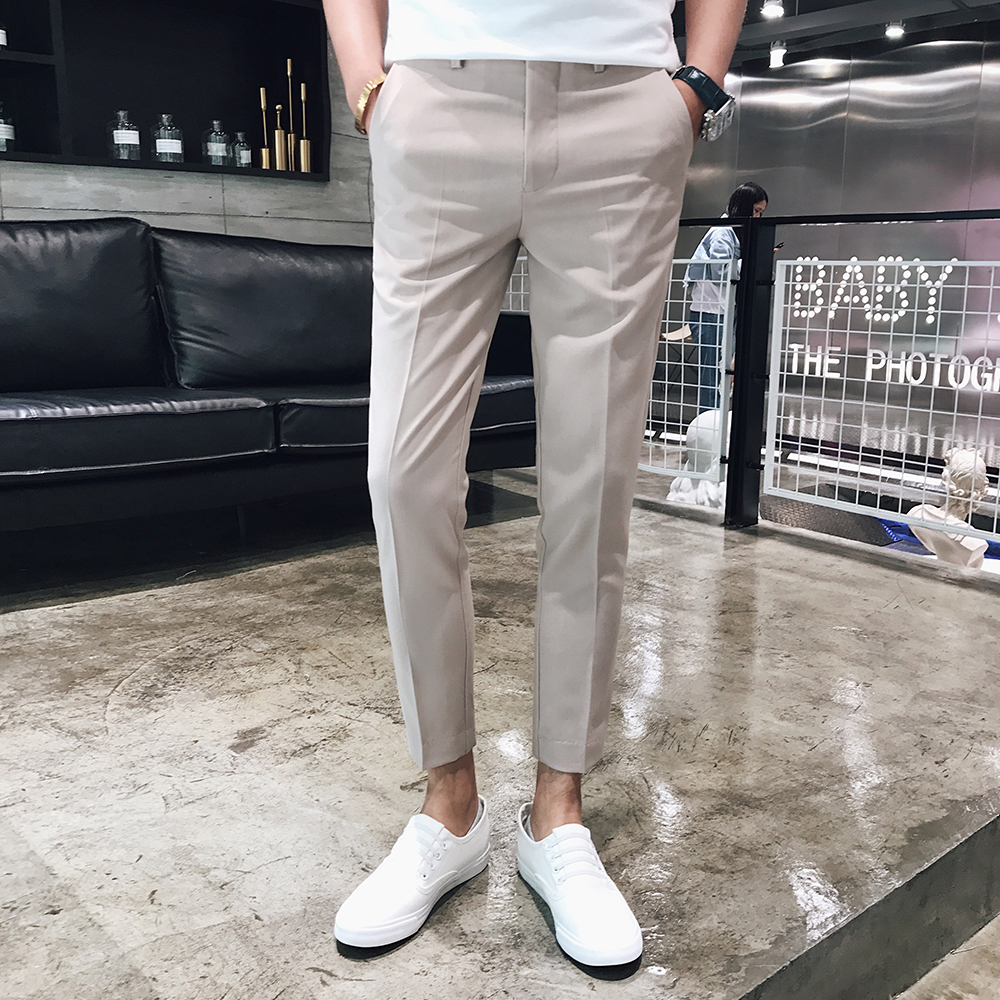 2018 new fashion solid color simple British feet pants mens wild hair stylist tide casual pants