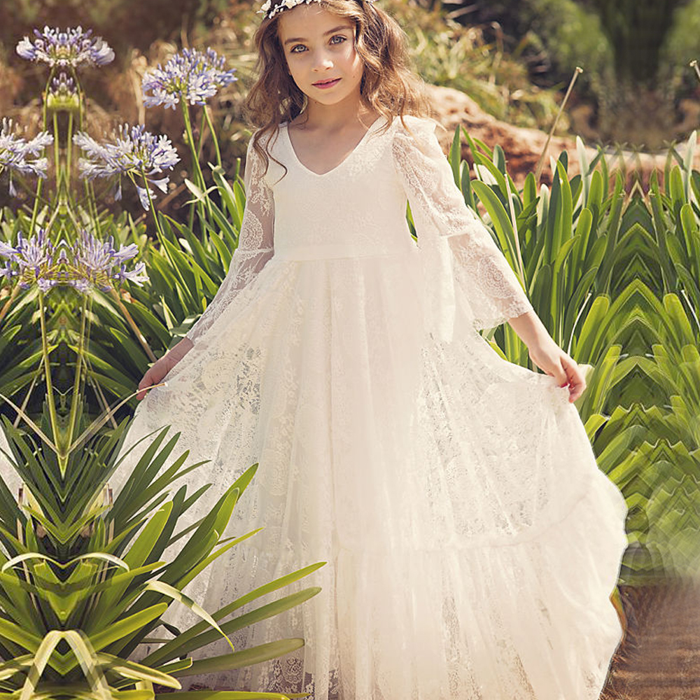 First Communion Dresses White A-Line Long Sleeves Lace Back Zipper Lace Flower Girl Dresses Vestido Daminha Casamento Longo Hot a line lace up mini skirts in white