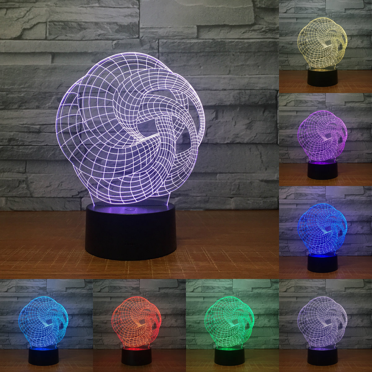 Creative 3D Illusion Lamp LED Night Light 3D Abstract Graphics Acrylic Lamparas Atmosphere Lamp Novelty Lighting IY803087