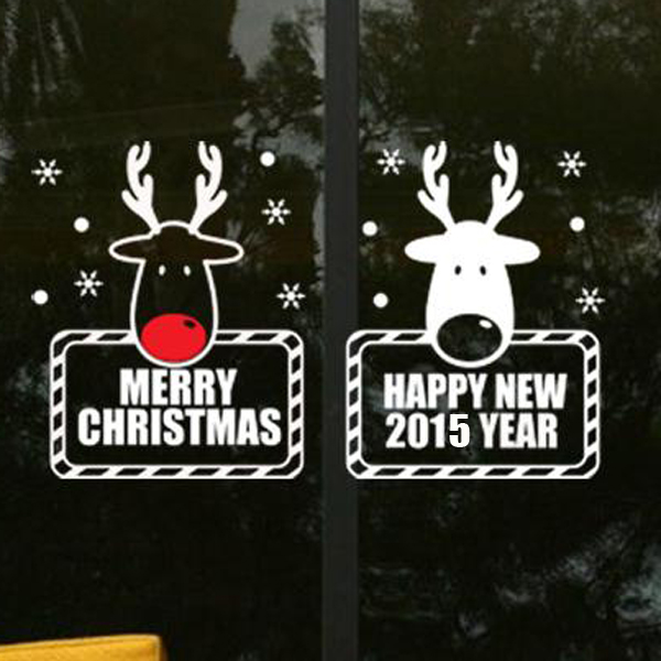 hong kong hang christmas two deer 55 * 32cm wall stickers glass