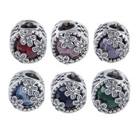 925 Sterling Silver Beads Charms 6 Color Big Crystal Spring Flower Bead For Pandora Charms Bracelet & Bangle Jewelry ZBZ068