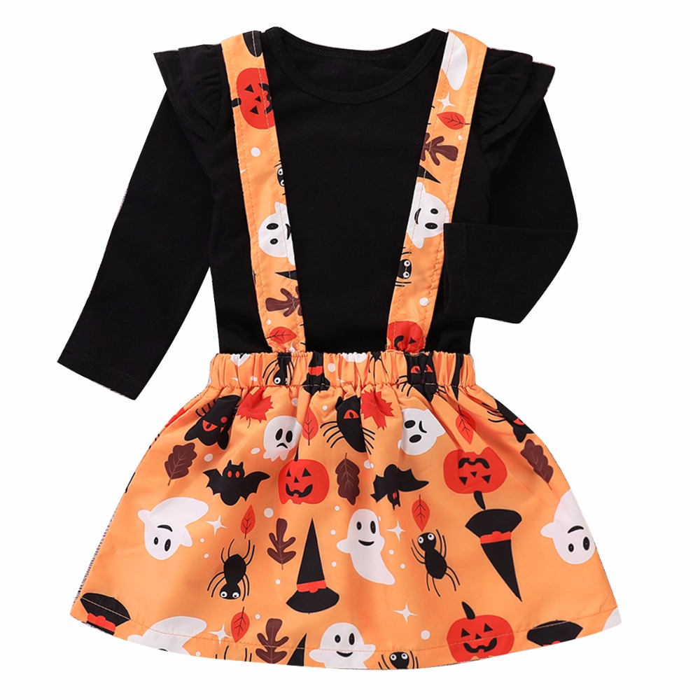 Puseky 0-5Y Toddler Kids Baby Girl Long Sleeve Black T-shirt Tops+Pumpkin Dress <font><b>Bib</b></font> <font><b>Skirt</b></font> 2PCS Outfits Halloween Clothes Set image