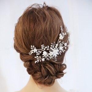 Image 4 - Цветок Серебряный цвет Свадебный гребень для волос ювелирные изделия Свадебная вечеринка ободки для невесты винтажная одежда для волос ювелирные изделия аксессуары