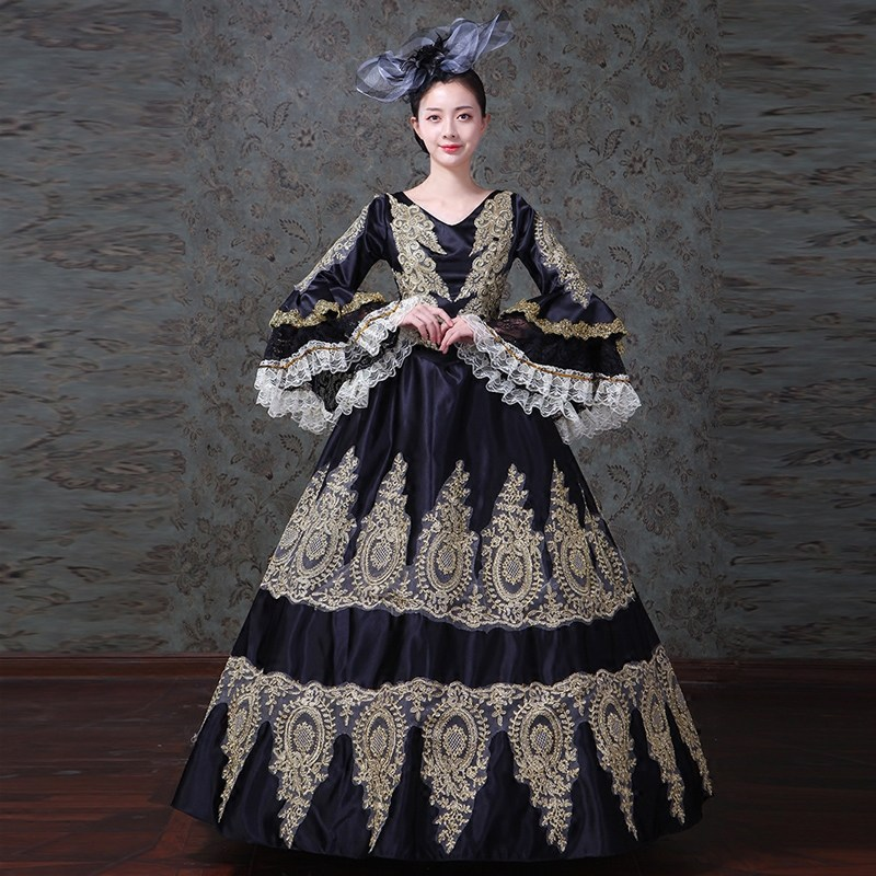 18th Century Black V Neck Long Flare Sleeve masquerade Party Dress Appliques Rococo Baroque Ball Gowns For Women Drop Shppping