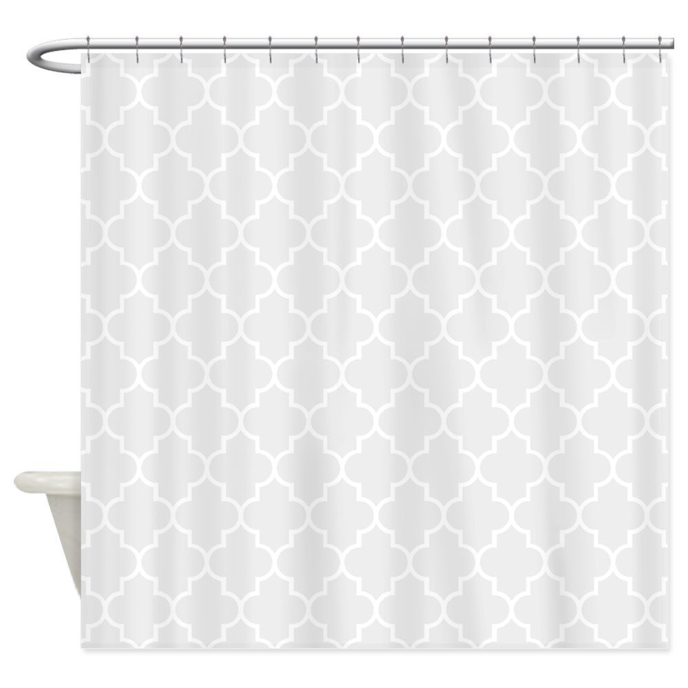Light Grey Quatrefoil Shower Curtain Decorative Fabric Shower Curtain Set House Doormats for Living Room Anti-Slip Rug
