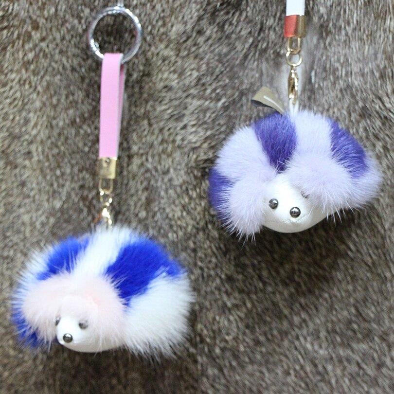 ФОТО Real Mink Fur Keychain For Women Hedgehog Top Handmade Cute Pom Fluffy Key Car Bag Pendant Chains Key Ring Holder For HAT