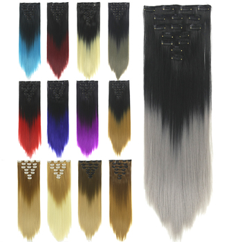 Soowee 24inch 7pcs/set 16Clips Full Head Straight Synthetic Hairpieces Heat Resistant Black to Grey Ombre Clip in Hair Extension 4