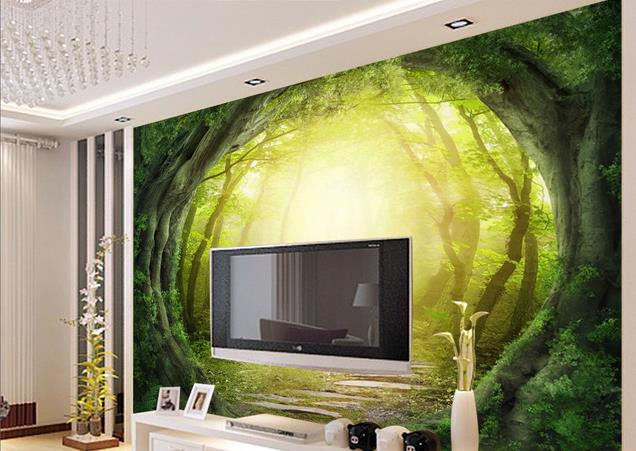 Custom 3d mural wallpaper European style 3D stereoscopic Forest ...