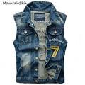 Mountainskin Jeans para hombres Chaleco de Mezclilla Sin Mangas Masculino Chaquetas Number Jeans Slim Fit Bordado Chaleco de Mezclilla de Los Hombres Chaleco LA033
