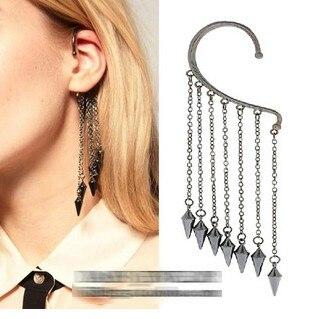 الأزياء سبايك الشرابة أقراط الأذن الكفة للنساء الجمال مجوهرات الشرير هامش شخصية معلقة عيد الخواتم بيجو فام