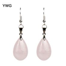 Rose Quartz Opalite Obsidian Water Drop Dangle Natural Stone Chakra Healing Reiki Crystal Earrings For Women Fashion Jewelry