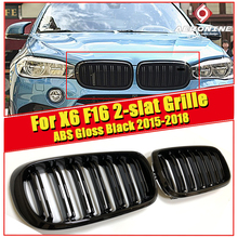 цены на 2 Piece X6 F16 Front Grille Grill ABS Gloss Black For X Series X6M Double Slats Front Bumper Kidney Grille Auto Car styling 15-  в интернет-магазинах