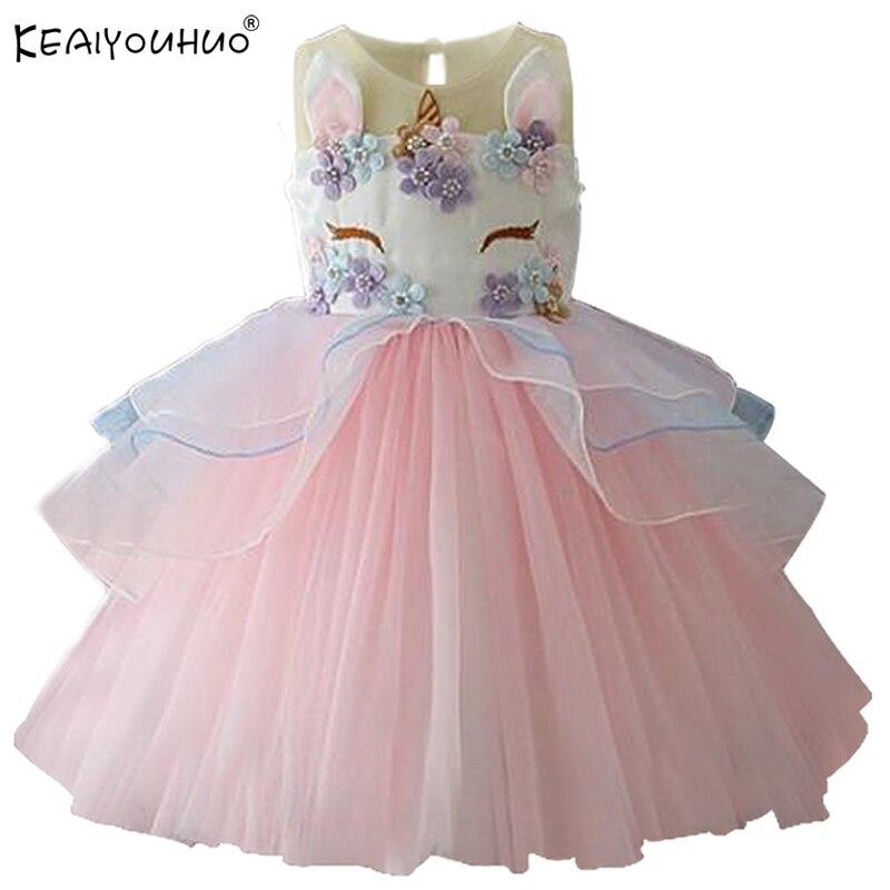 Nuevos niños vestidos para niñas unicornio partido vestido elegante ...