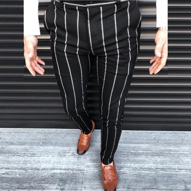 Fashion Men Casual Slim Fit Striped Long Pants