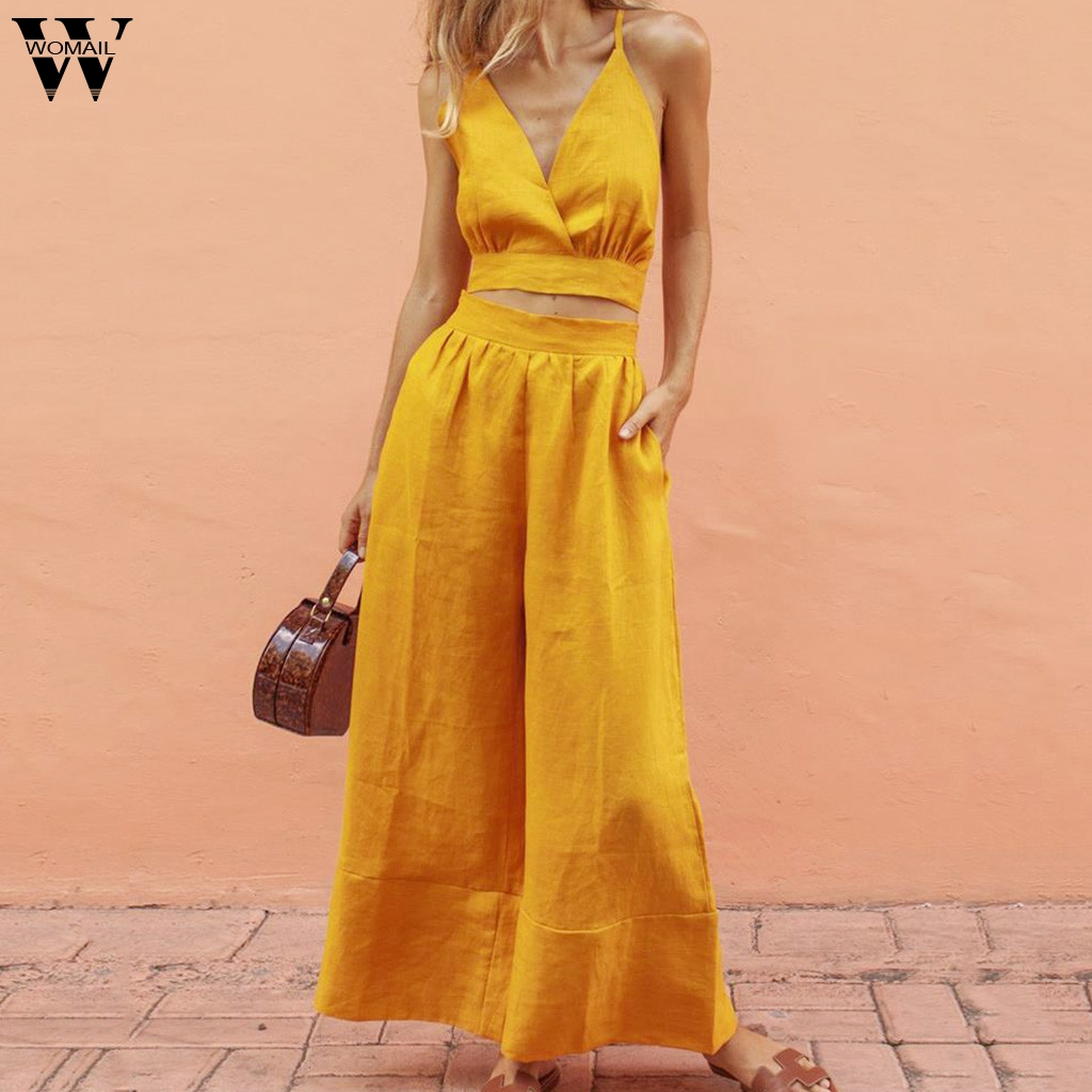Womail Women Tracksuit Summer Female Two Pieces Sleeveless Shirt Tops+long Pant Set 2PCS Set Yellow Women Suit Fashion J711