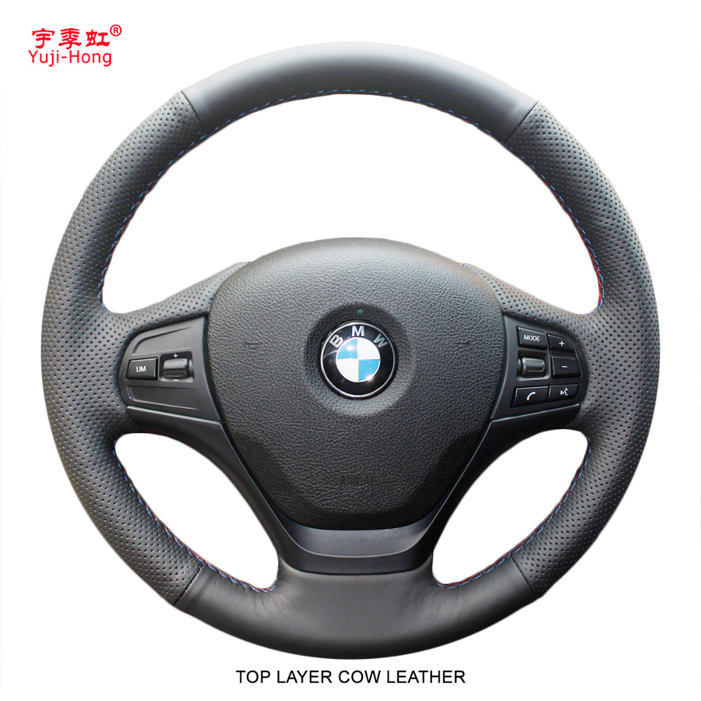 Yuji Hong Top Layer Genuine Cow Leather Car Steering Wheel Covers Case for BMW 320i 2013