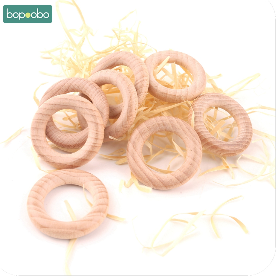 Bopoobo 20pc/lot Wood Rings 40mm Unfinished Wooden Rings DIY Beech Teething Ring Round Natural Wood Teether Baby Teether