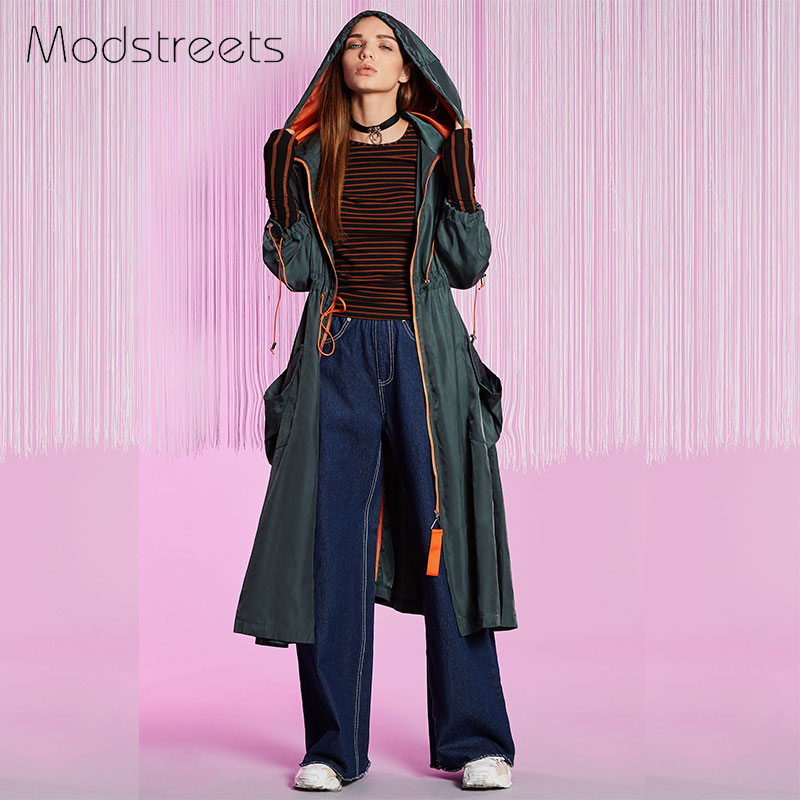 Modstreets Women Trench Coat Casual Hooded Long Sleeve Spring Autumn Long Coat Zipper Adjustable Waist Windbreaker Coat 2 Color