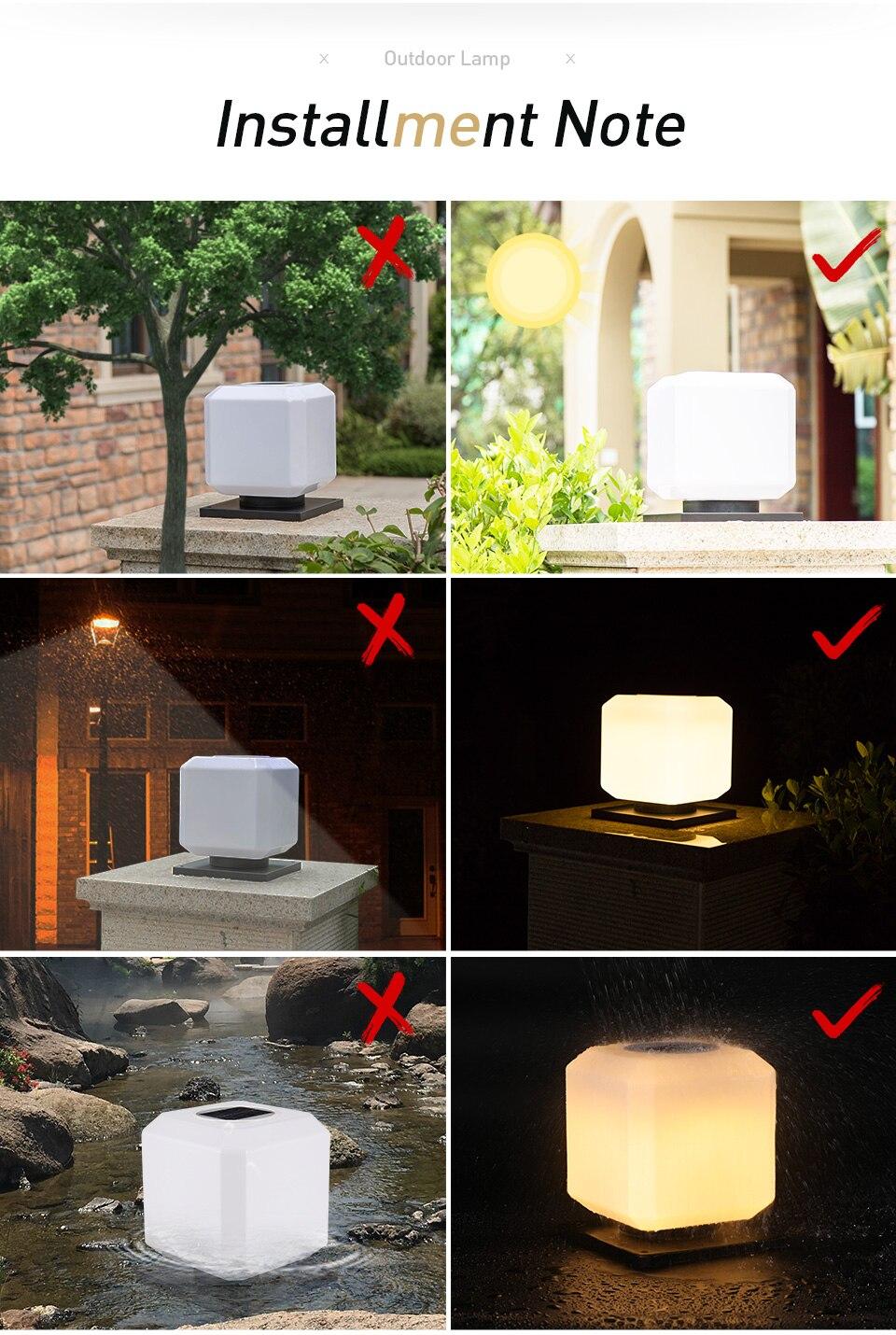 Coluna Lâmpada Ao Ar Livre Movido A Energia Solar Jardim Luzes Decorativas Pilar Post Cap Lamp Iluminação De Segurança À Prova D' Água para o Pátio Villa