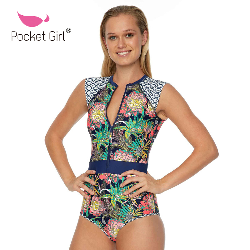 Pocket Girl 2017 Summer Tropical Style Swimsuits Printed Women Swimwear Summer One Piece  Beach Zippers Swim Bathing Suit extra large size or more beach tropical swimsuits one pieces swimwear women 2017 monokini brand